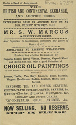 Advert for the British & Continental Exchange & Auction Rooms